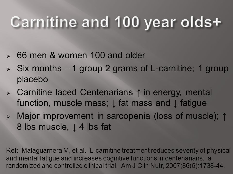 Carnitine and 100 year olds+