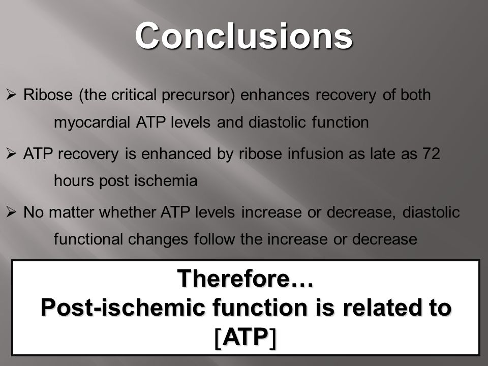 Post-ischemic function is related to ATP