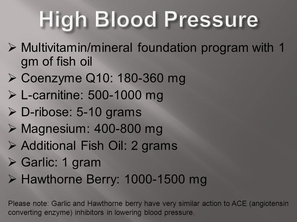 High Blood Pressure Multivitamin/mineral foundation program with 1 gm of fish oil. Coenzyme Q10: 180-360 mg.