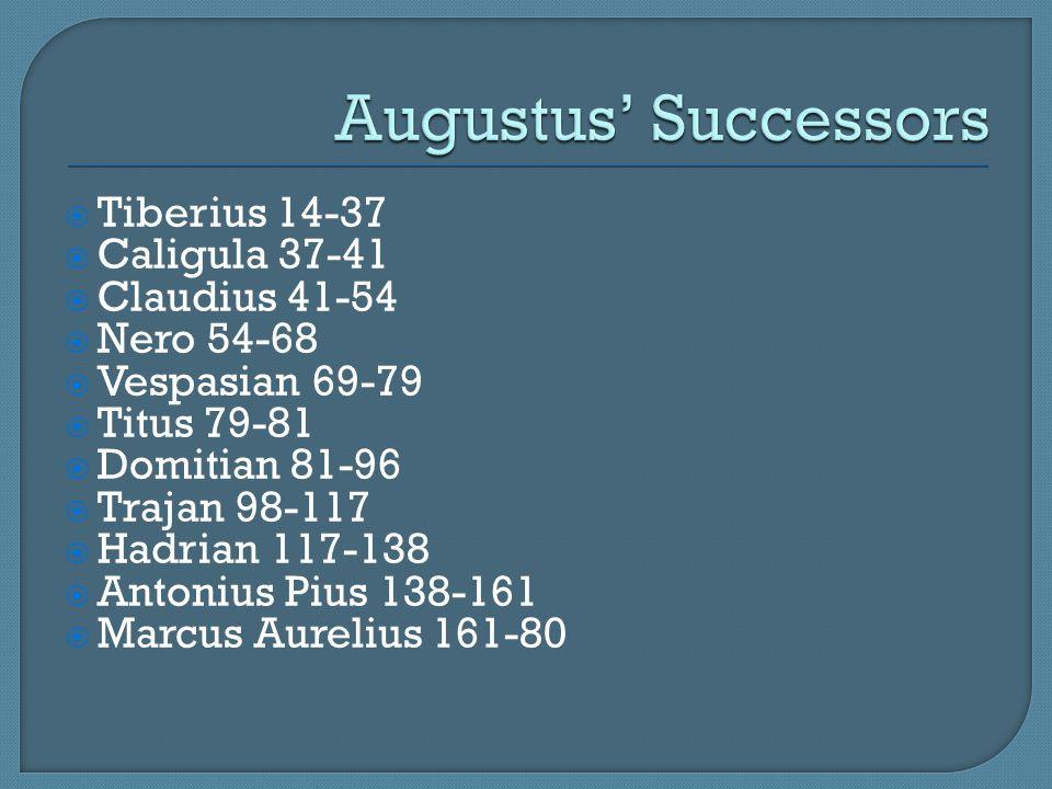 Augustus' Successors Tiberius 14-37 Caligula 37-41 Claudius 41-54