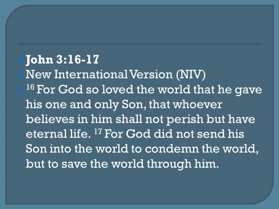 John 3:16-17 New International Version (NIV)