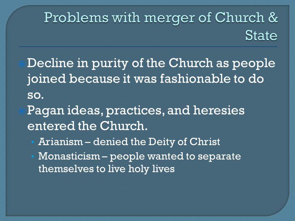 Problems with merger of Church & State