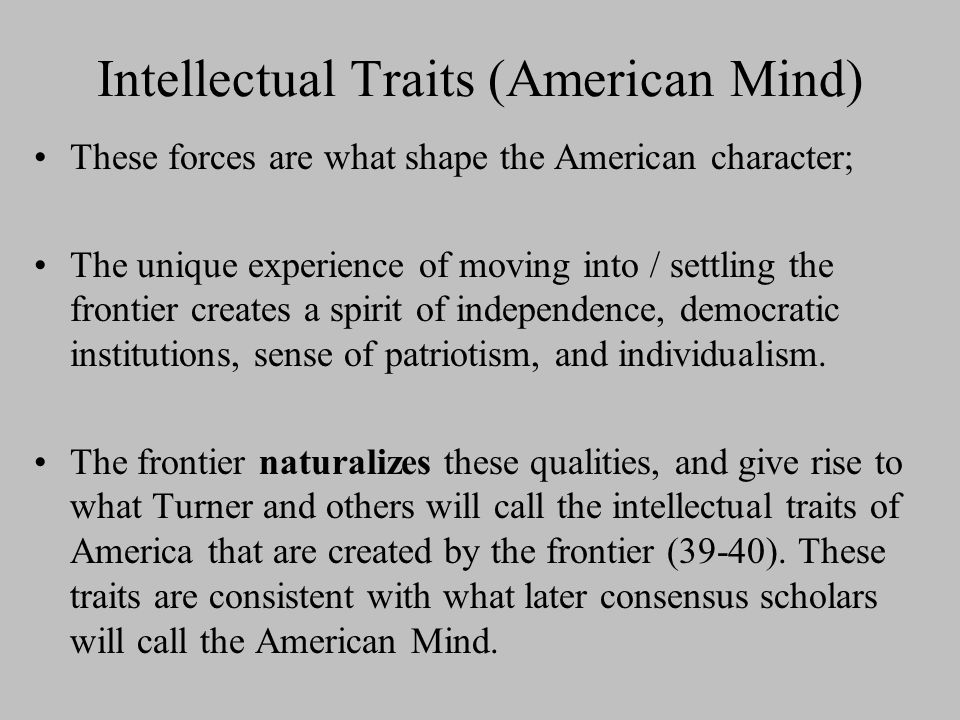 Intellectual Traits (American Mind)