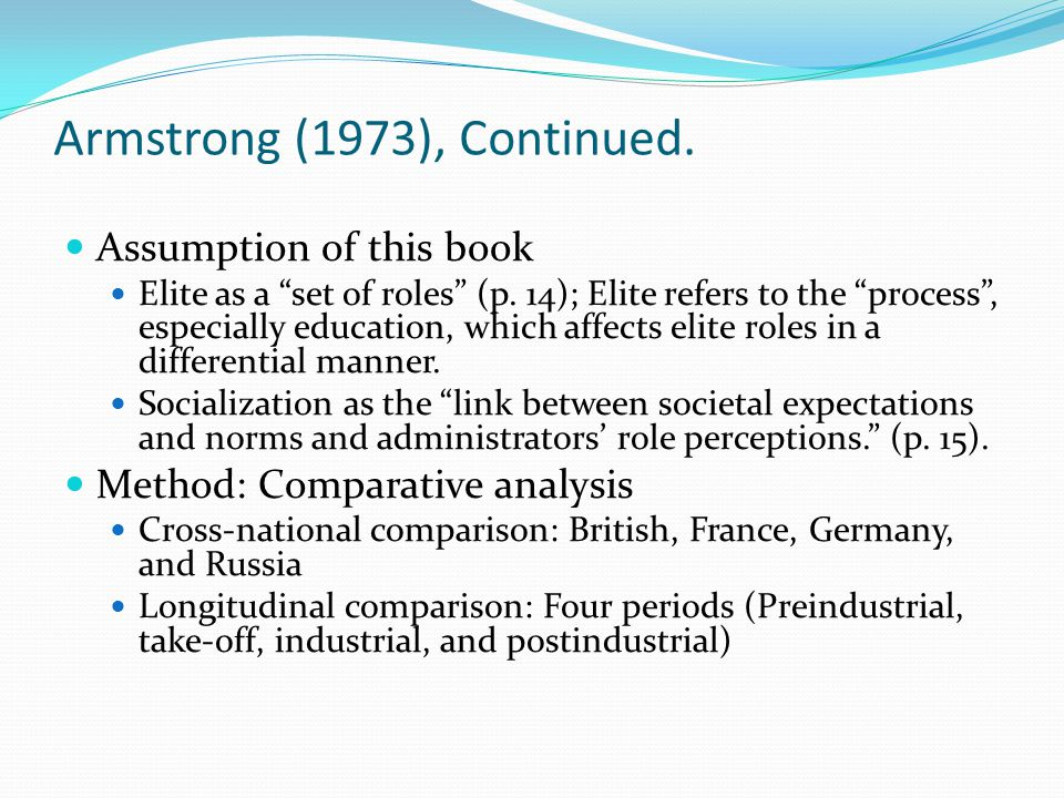 Armstrong (1973), Continued.