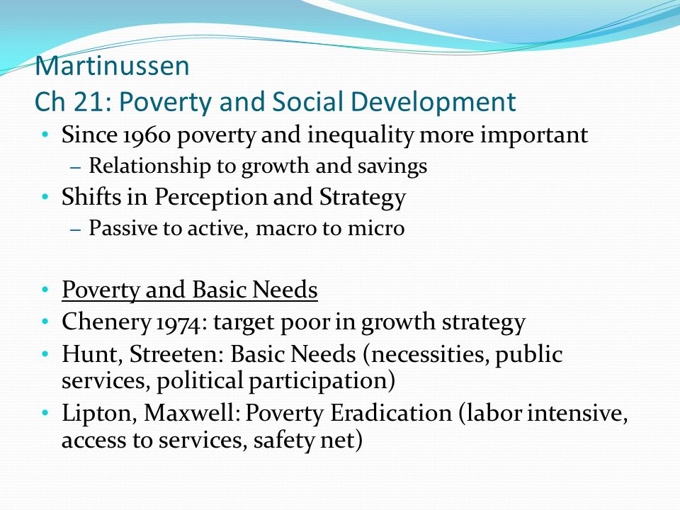 Martinussen Ch 21: Poverty and Social Development