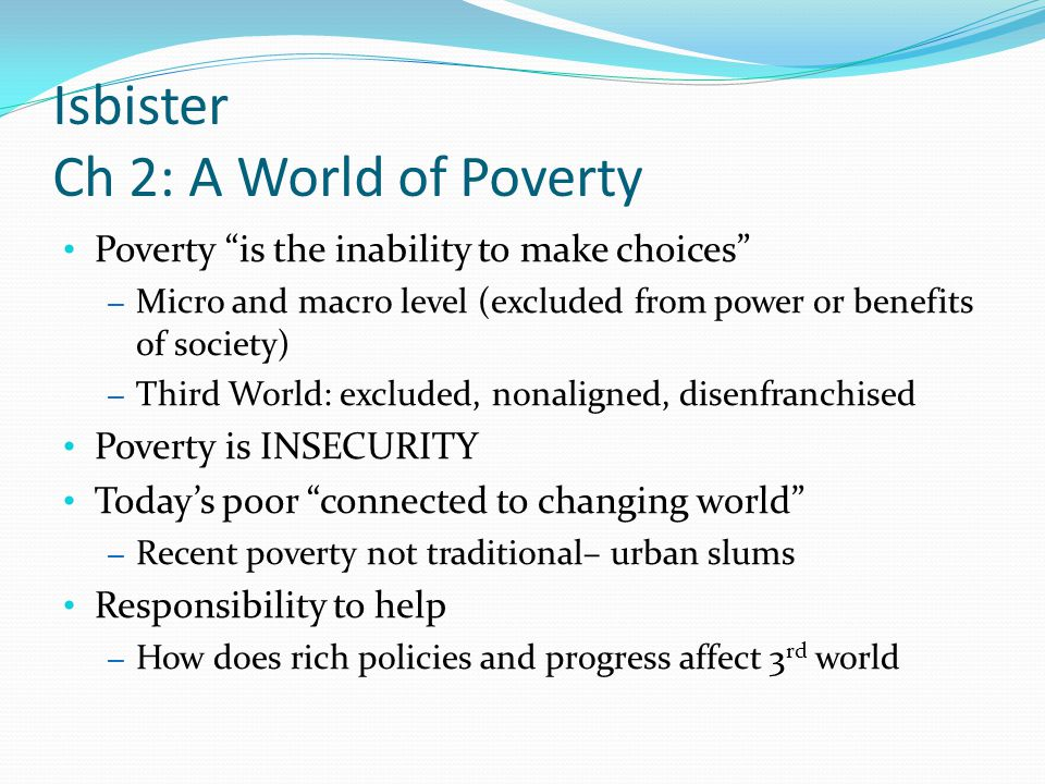Isbister Ch 2: A World of Poverty