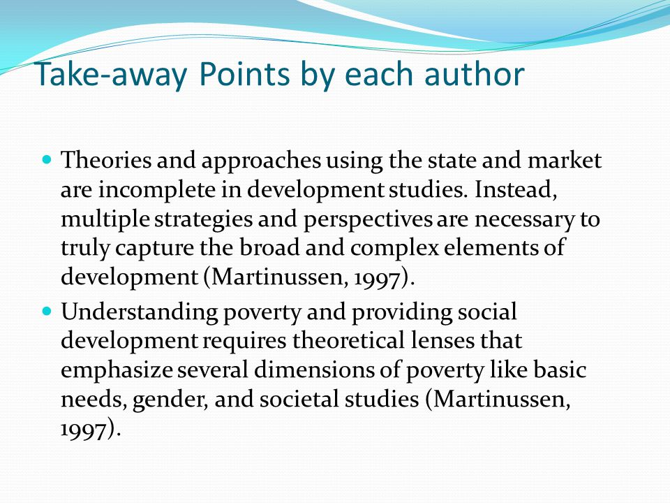 Take-away Points by each author