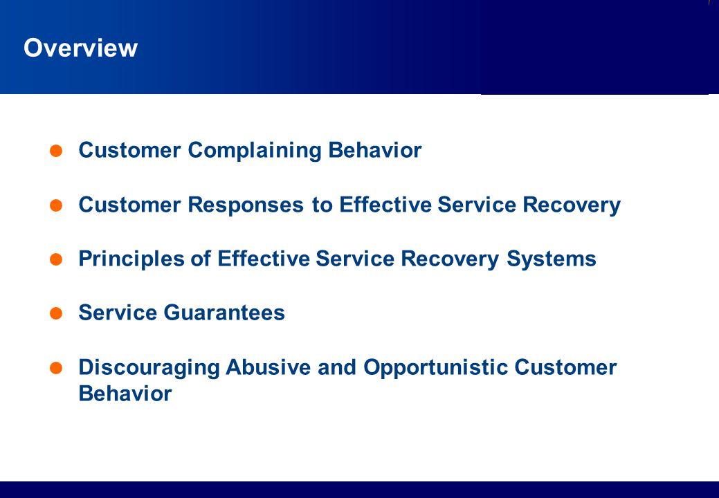 Overview Customer Complaining Behavior