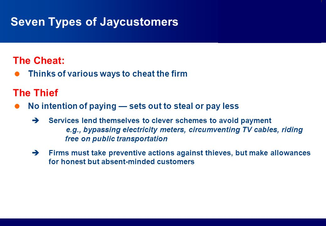 Seven Types of Jaycustomers