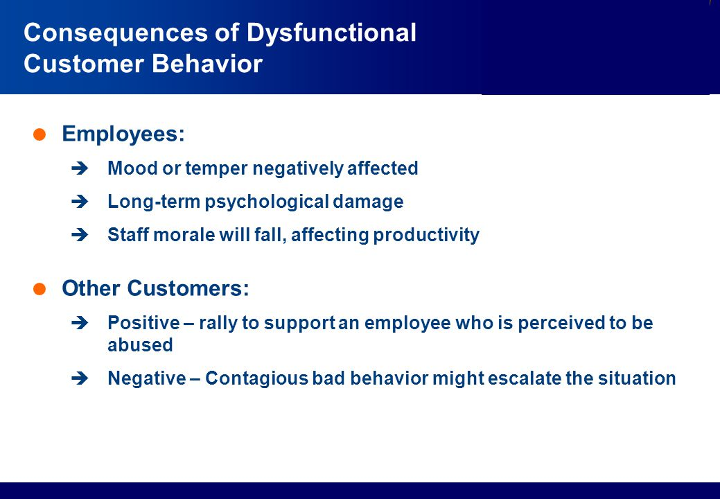 Consequences of Dysfunctional Customer Behavior
