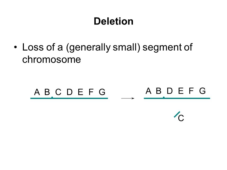 Loss of a (generally small) segment of chromosome