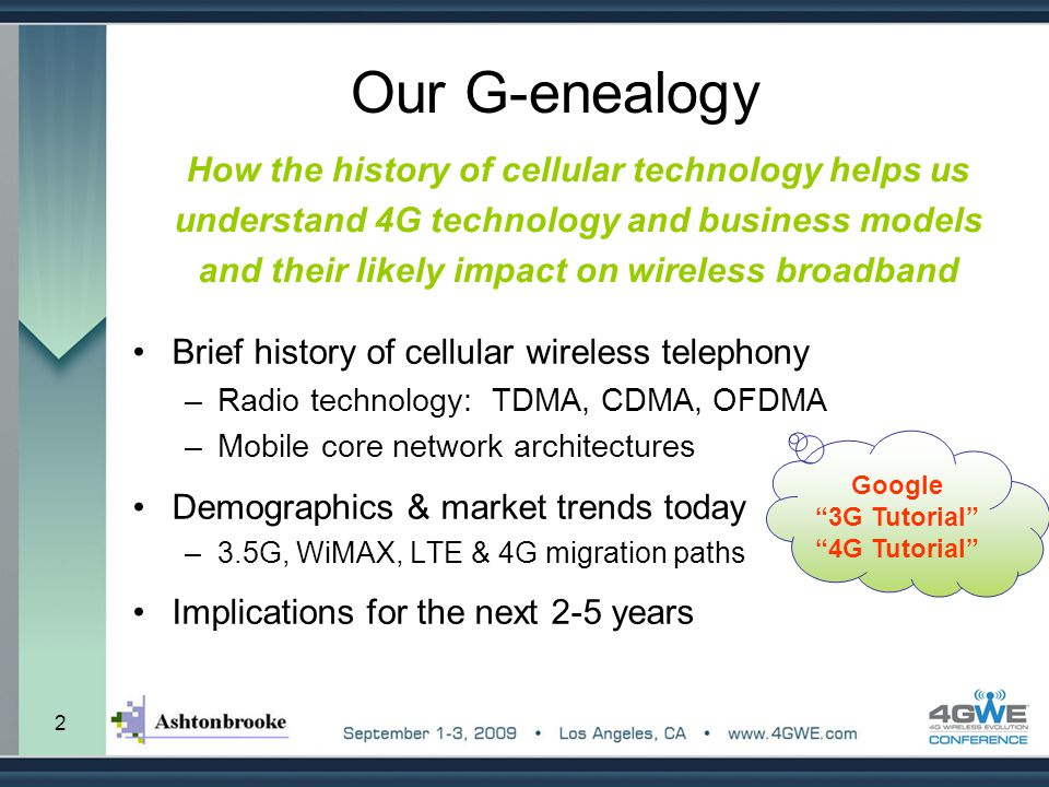 Our G-enealogy How the history of cellular technology helps us