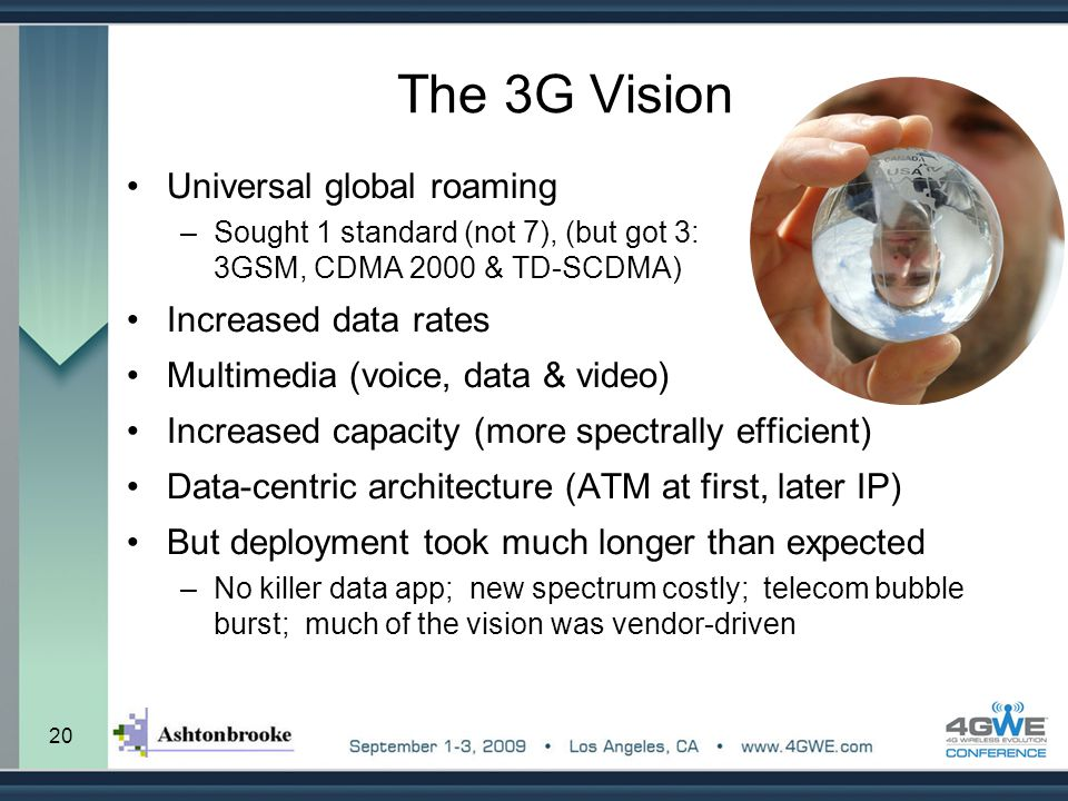 The 3G Vision Universal global roaming Increased data rates