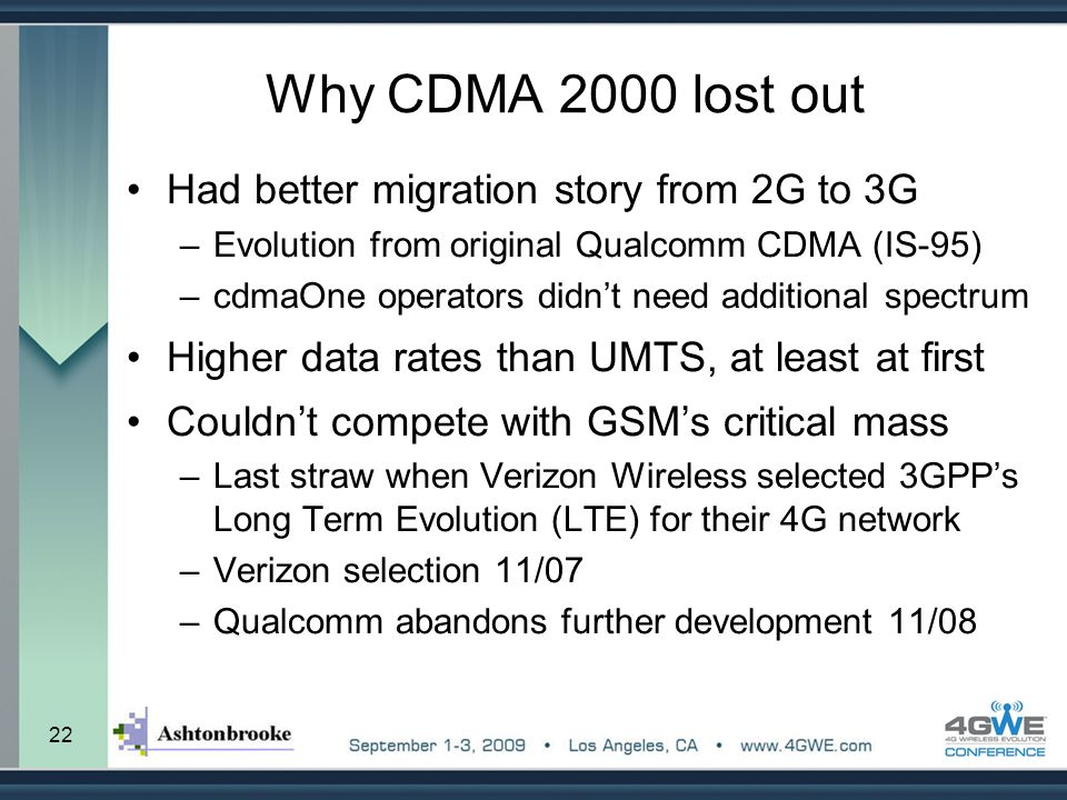 Why CDMA 2000 lost out Had better migration story from 2G to 3G