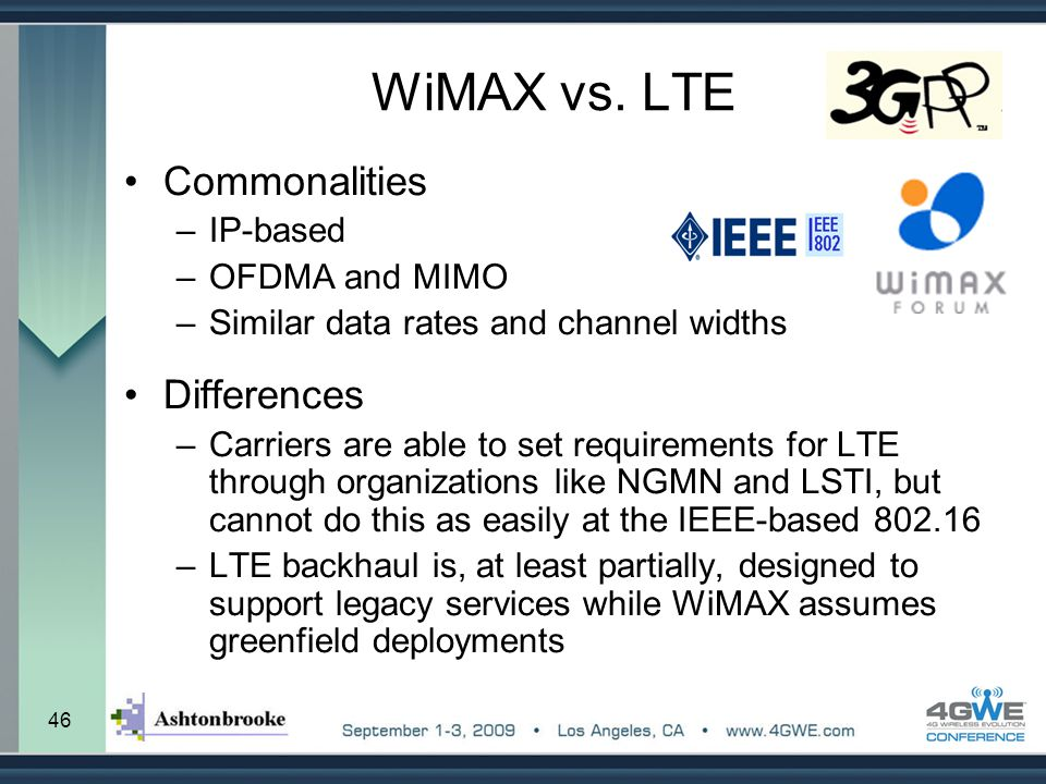 WiMAX vs. LTE Commonalities Differences IP-based OFDMA and MIMO