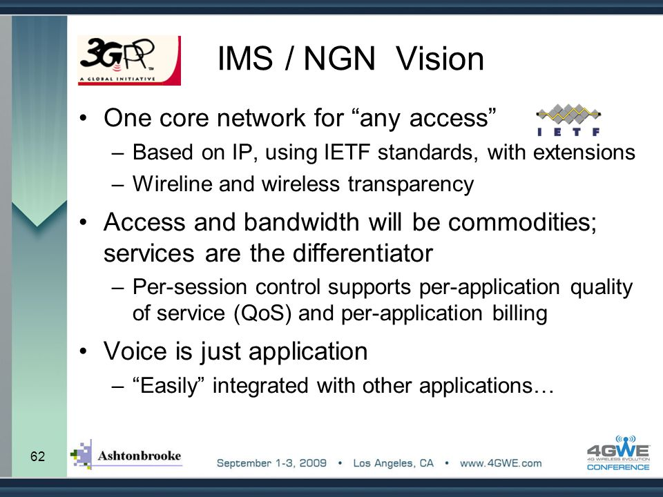 IMS / NGN Vision One core network for any access