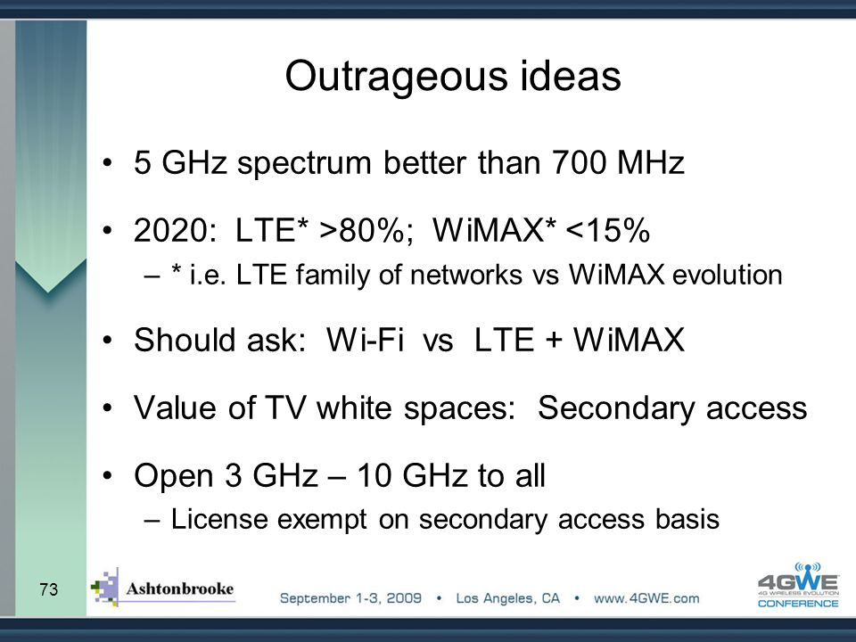 Outrageous ideas 5 GHz spectrum better than 700 MHz