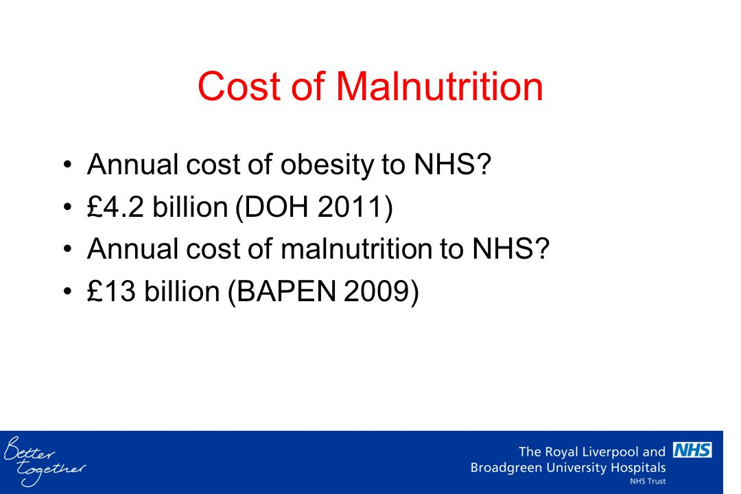 Cost of Malnutrition Annual cost of obesity to NHS