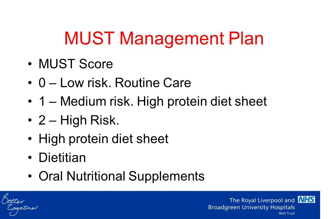 MUST Management Plan MUST Score 0 – Low risk. Routine Care