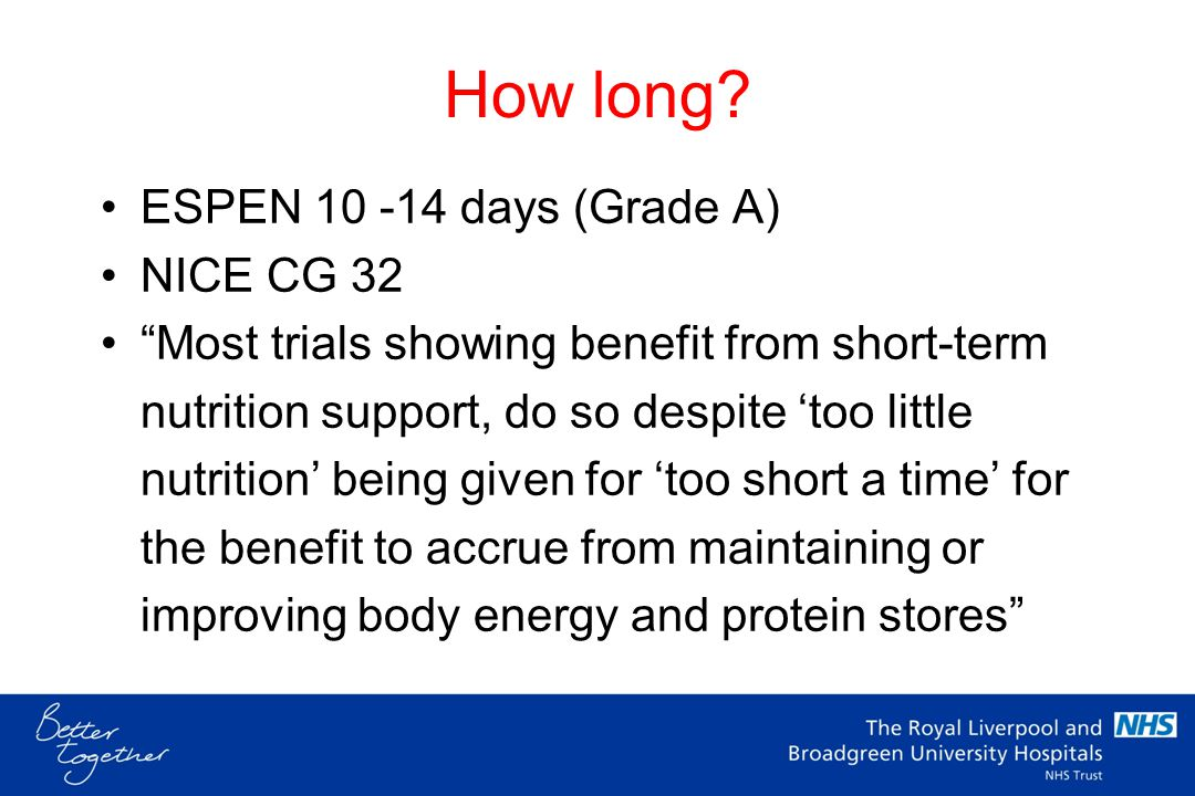 How long ESPEN 10 -14 days (Grade A) NICE CG 32
