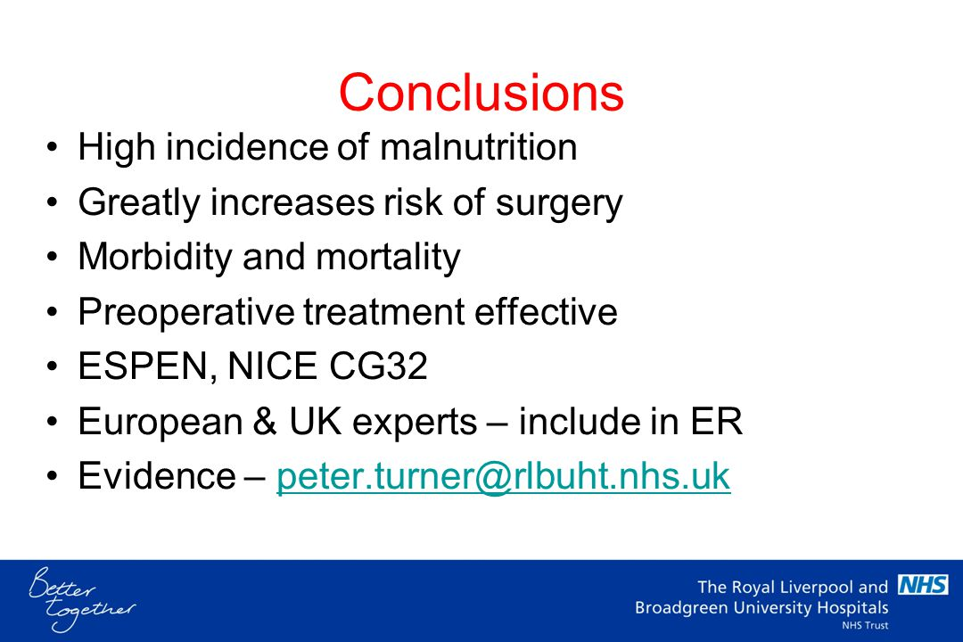 Conclusions High incidence of malnutrition