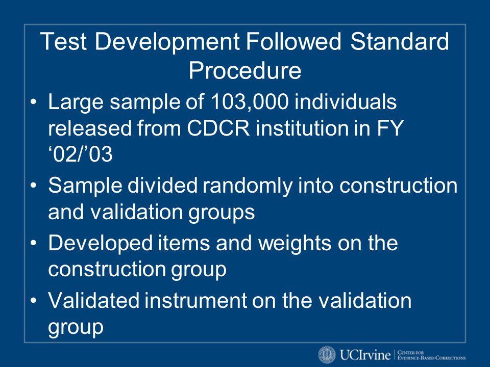 Test Development Followed Standard Procedure