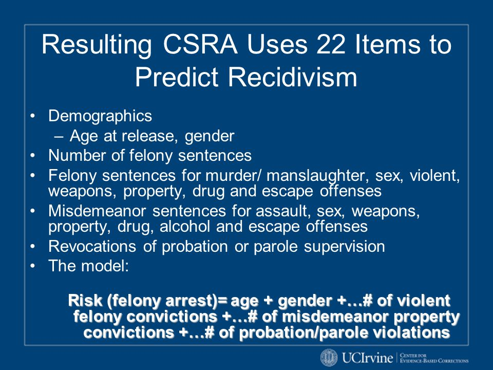 Resulting CSRA Uses 22 Items to Predict Recidivism