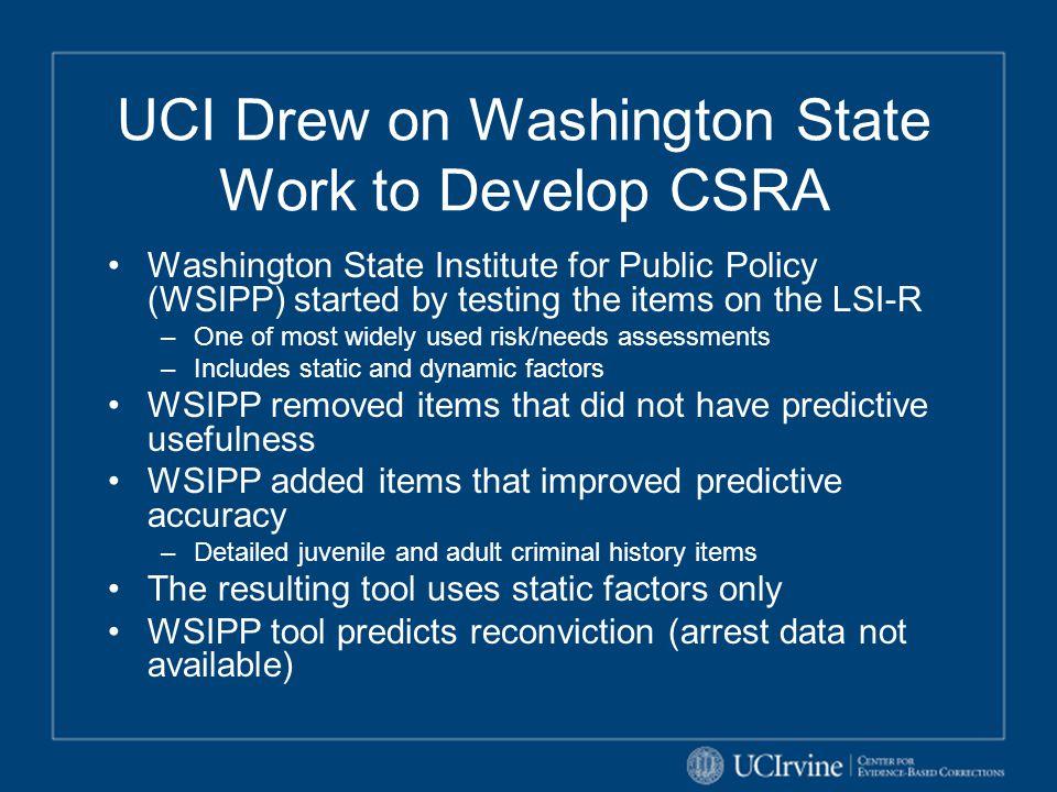 UCI Drew on Washington State Work to Develop CSRA