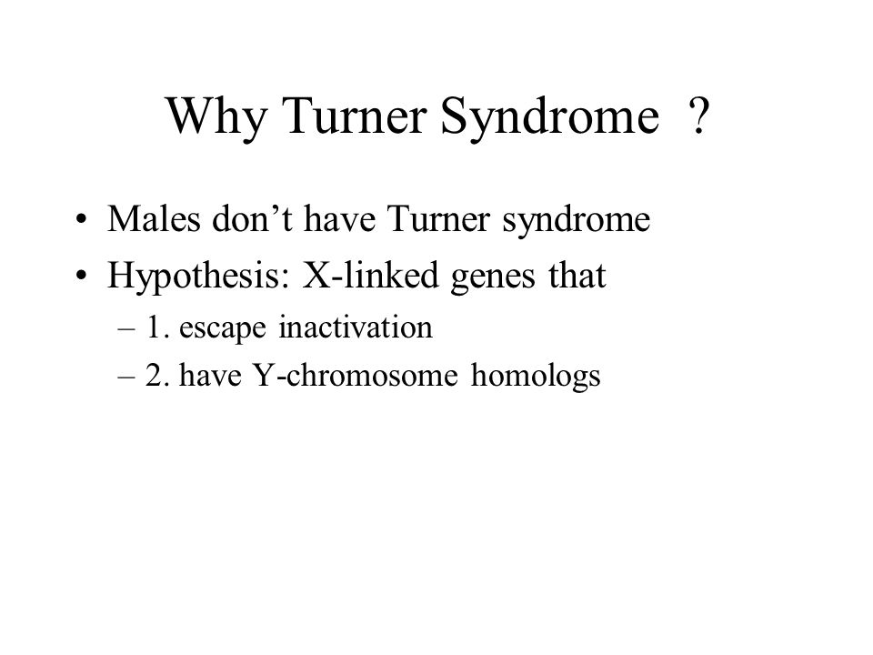 Why Turner Syndrome Males don't have Turner syndrome