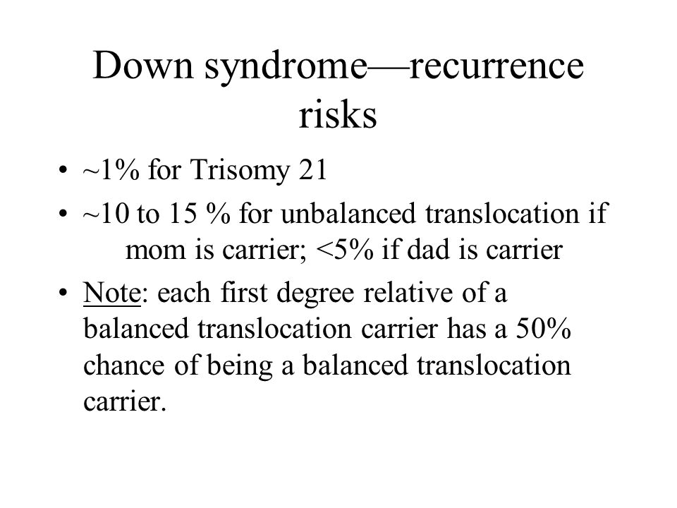 Down syndrome—recurrence risks