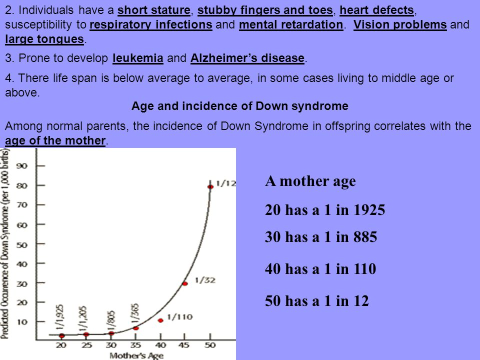 Age and incidence of Down syndrome