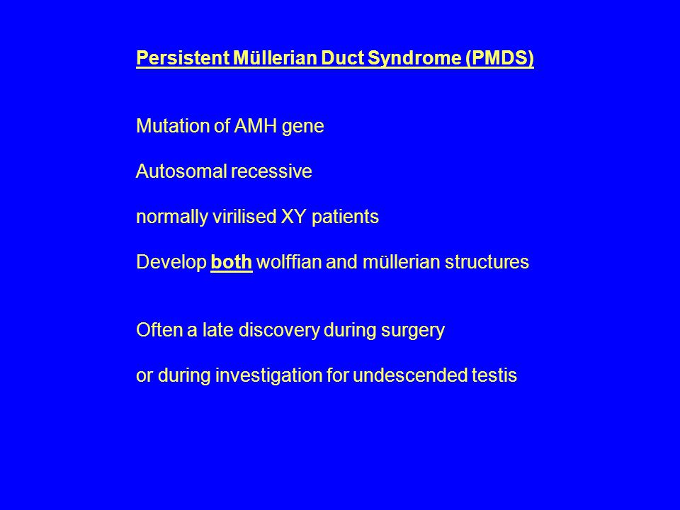 Persistent Müllerian Duct Syndrome (PMDS) Mutation of AMH gene Autosomal recessive normally virilised XY patients Develop both wolffian and müllerian structures Often a late discovery during surgery or during investigation for undescended testis