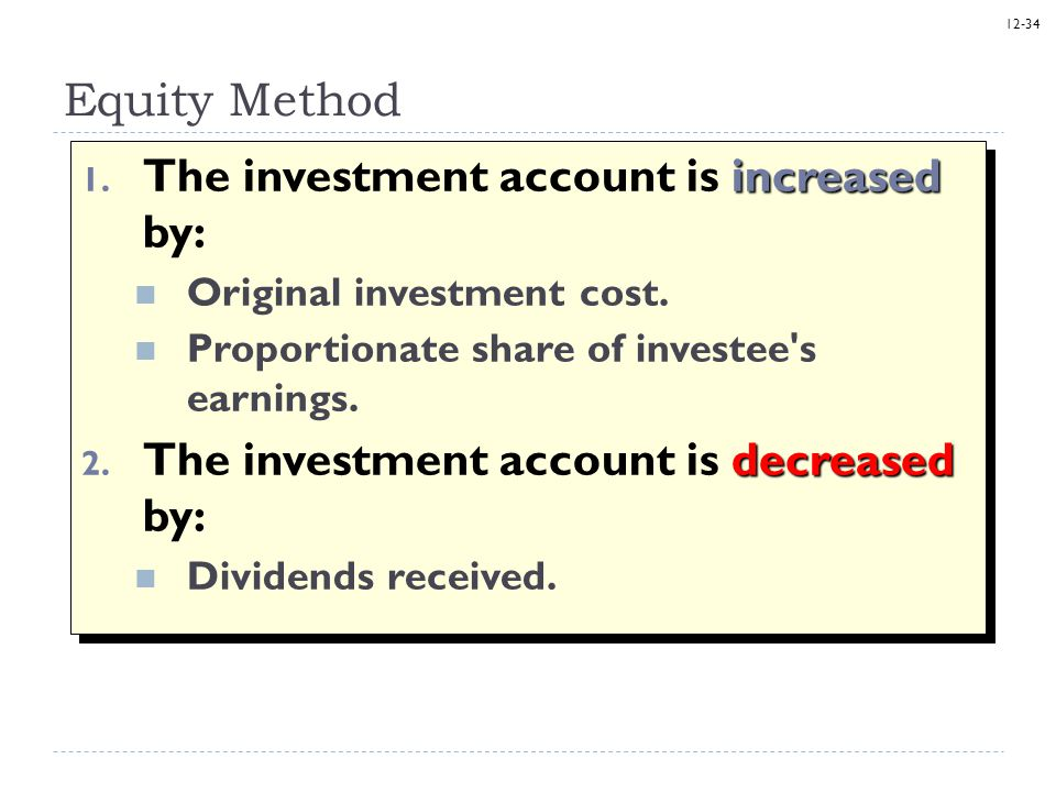 The investment account is increased by: