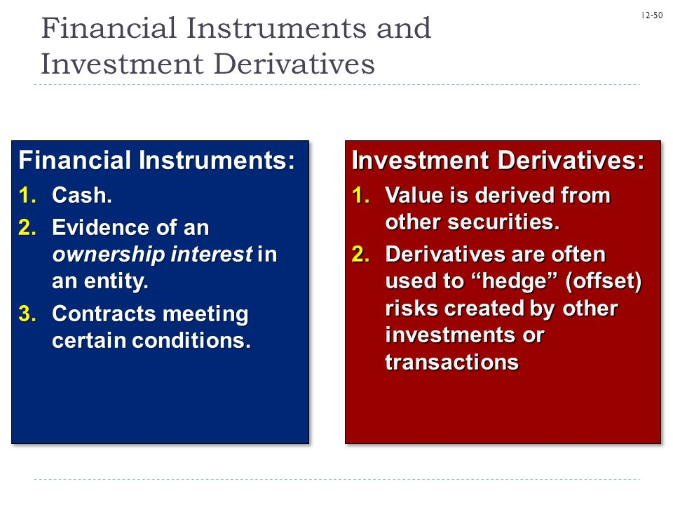 Financial Instruments and Investment Derivatives