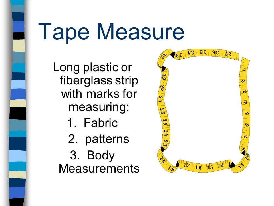 Long plastic or fiberglass strip with marks for measuring: