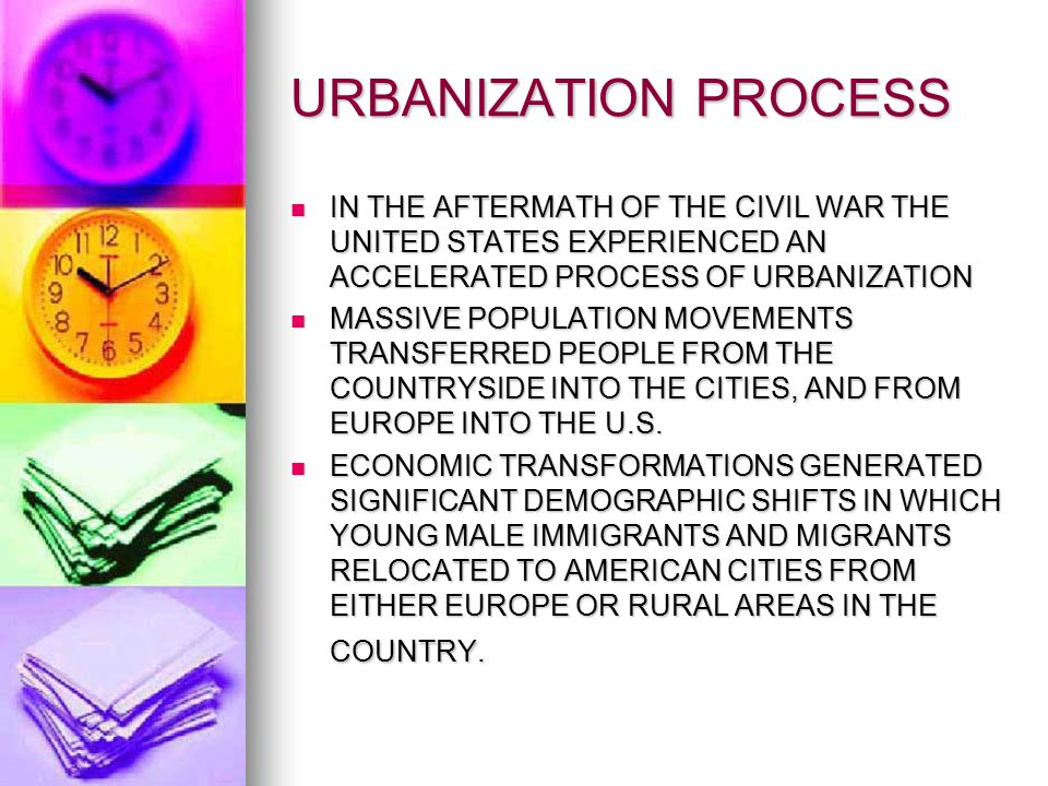 URBANIZATION PROCESS IN THE AFTERMATH OF THE CIVIL WAR THE UNITED STATES EXPERIENCED AN ACCELERATED PROCESS OF URBANIZATION.