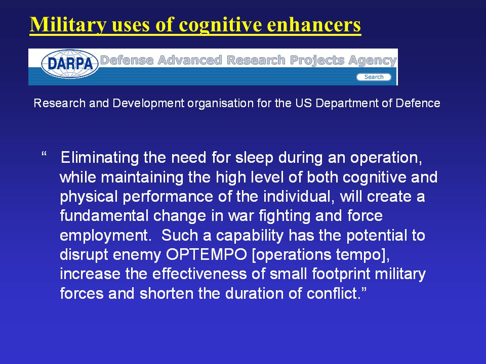 Military uses of cognitive enhancers