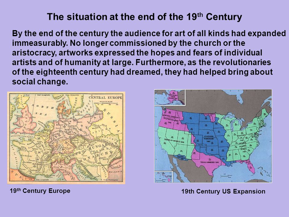 The situation at the end of the 19th Century