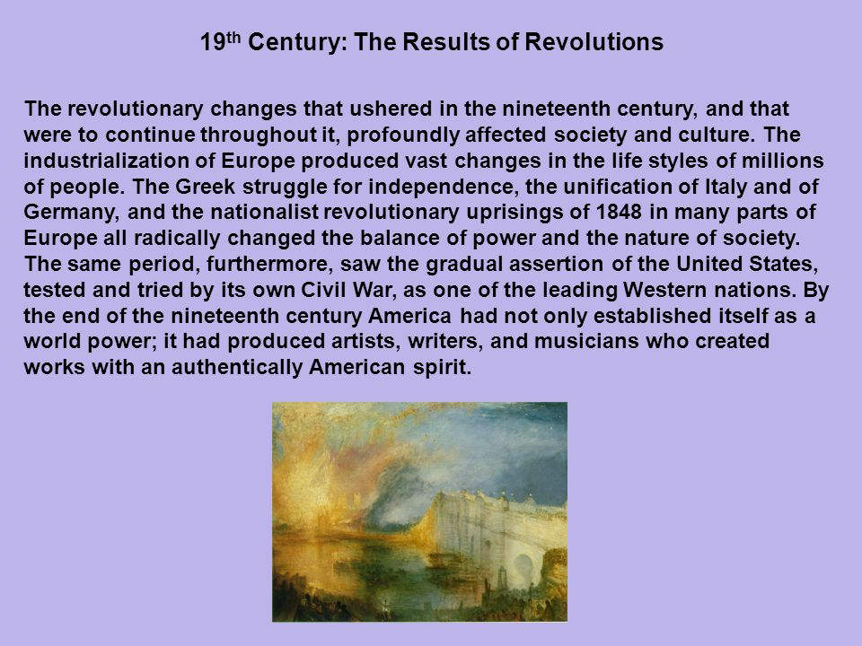 19th Century: The Results of Revolutions