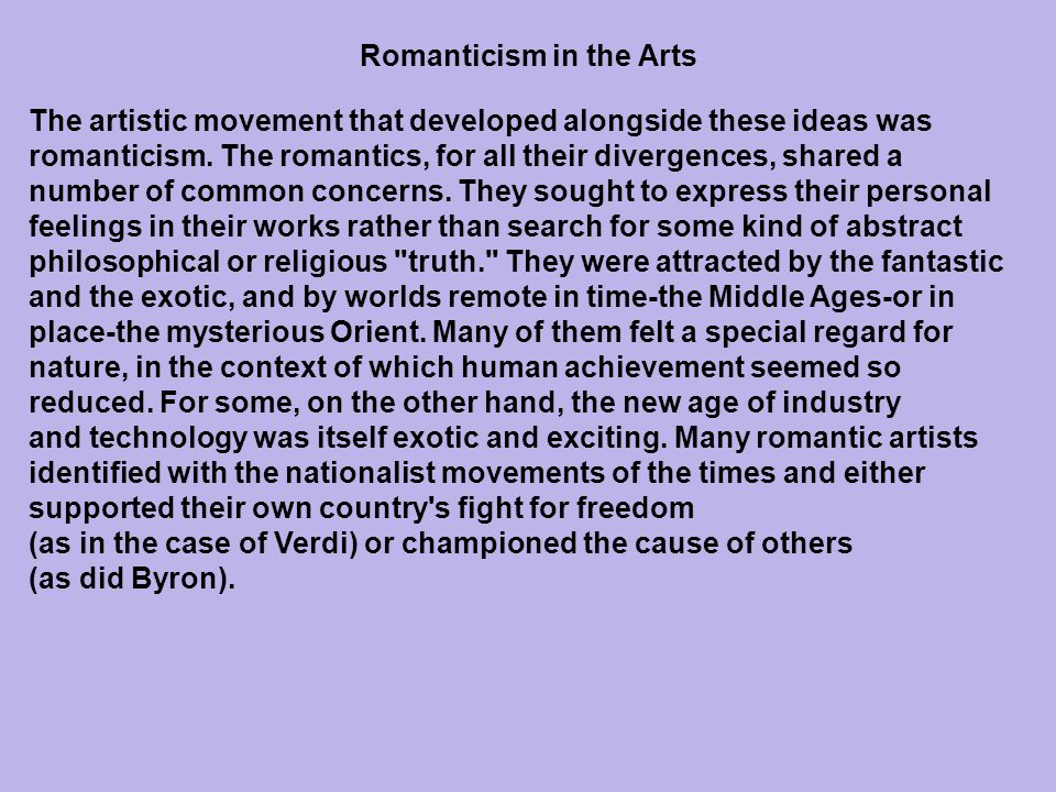 Romanticism in the Arts