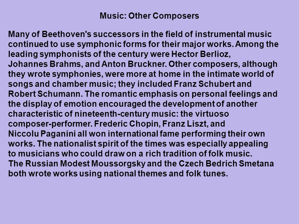 Music: Other Composers