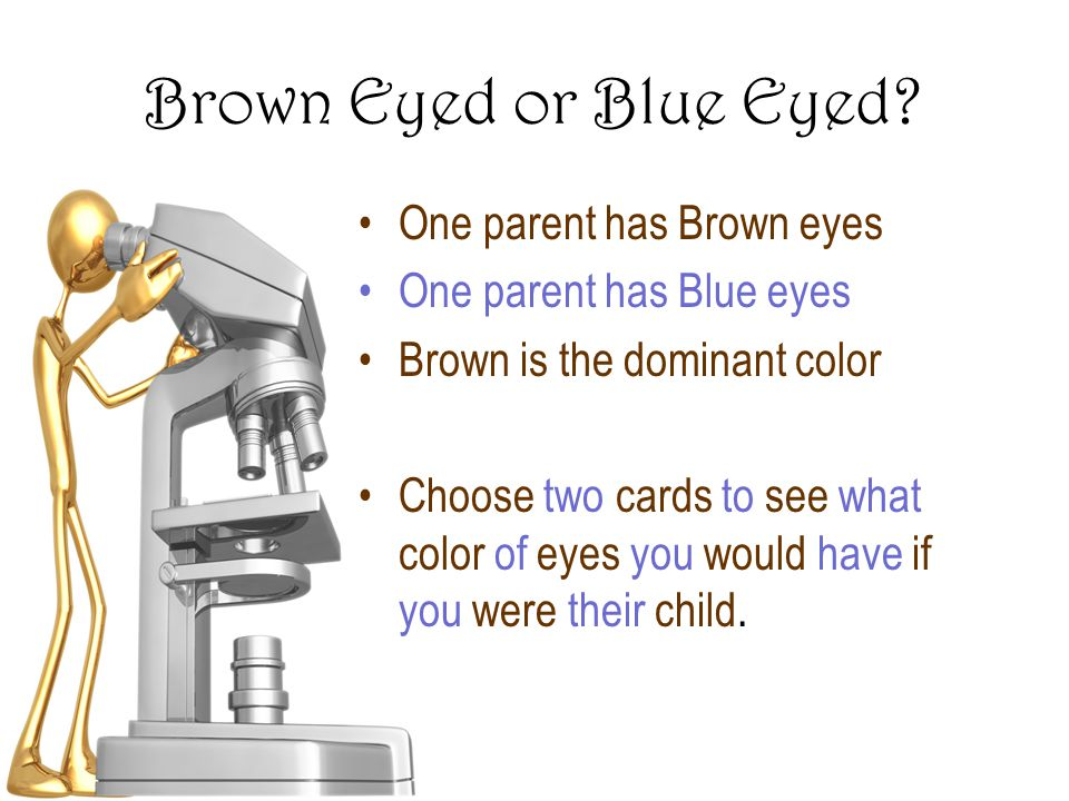 Brown Eyed or Blue Eyed One parent has Brown eyes