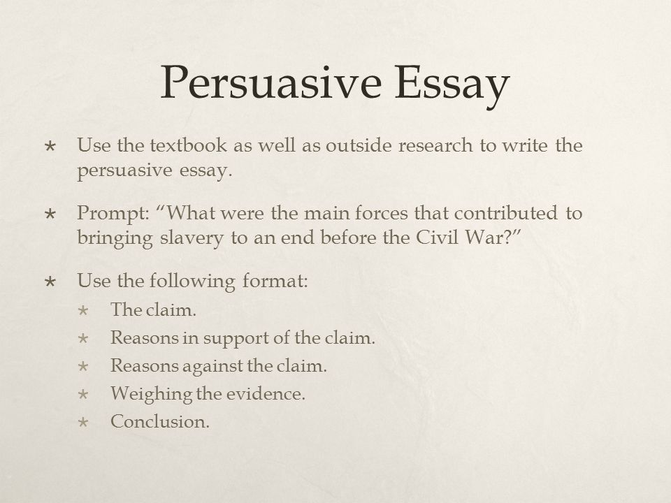 Persuasive Essay Use the textbook as well as outside research to write the persuasive essay.