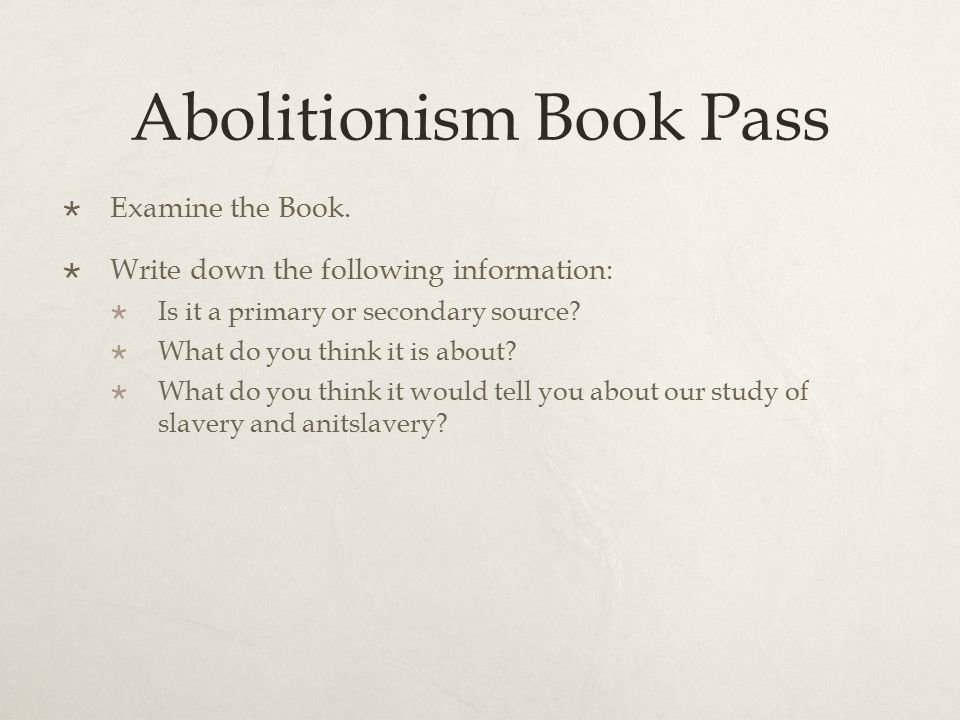 Abolitionism Book Pass