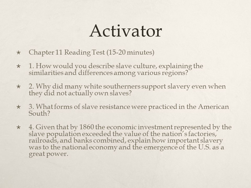Activator Chapter 11 Reading Test (15-20 minutes)