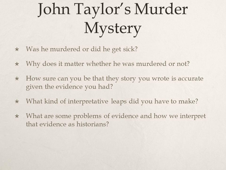 John Taylor's Murder Mystery