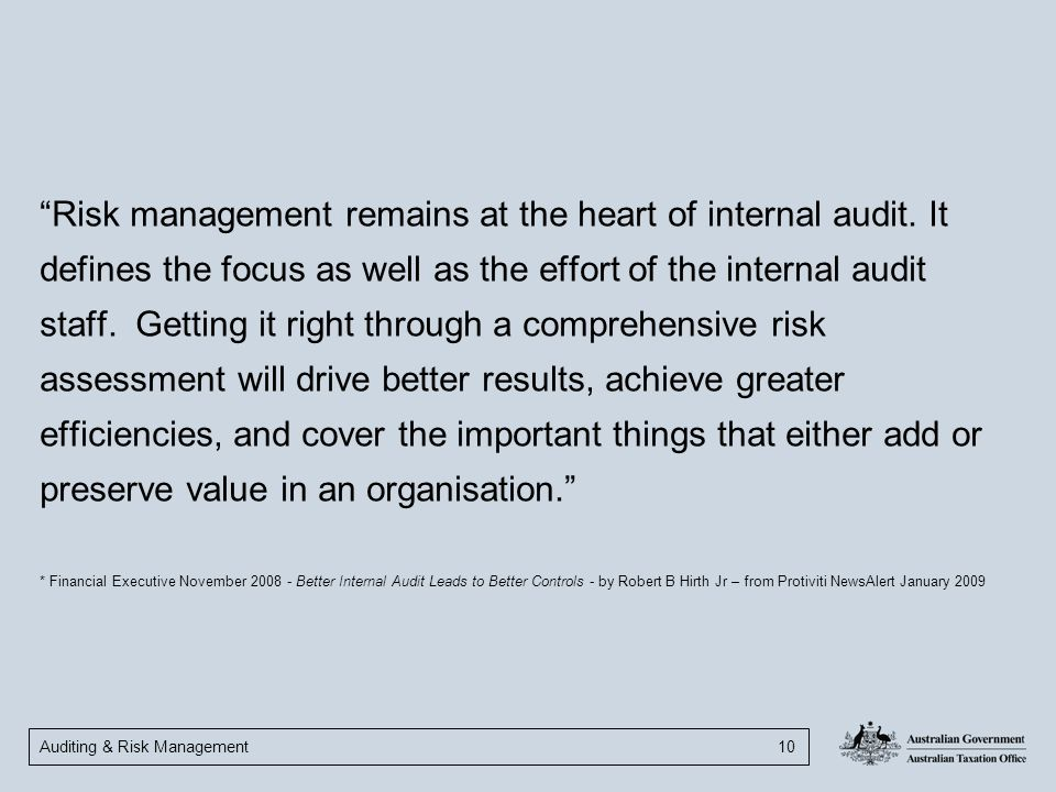 Risk management remains at the heart of internal audit