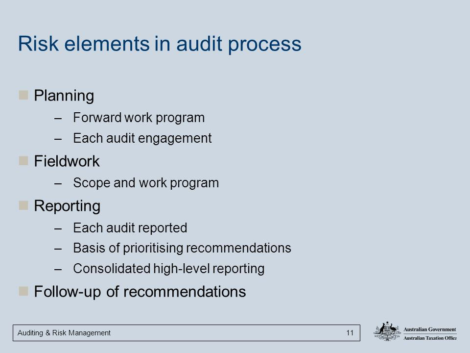 Risk elements in audit process