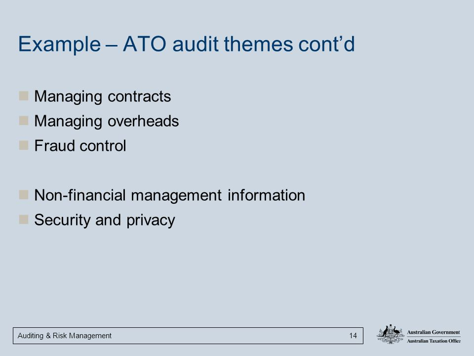 Example – ATO audit themes cont'd