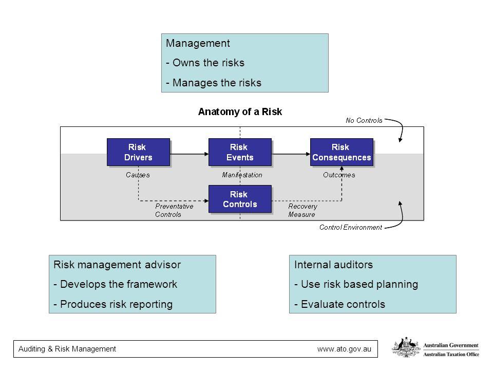 Management Owns the risks. Manages the risks. Risk management advisor. Develops the framework. Produces risk reporting.